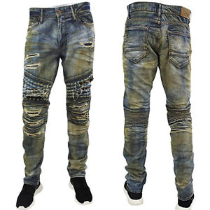 Jordan Craig Aaron Distressed Studs Slim Fit Moto Biker Jeans, Death Valley