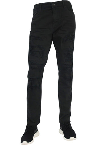 Jordan Craig Jet Black Aaron Jeans With Rips