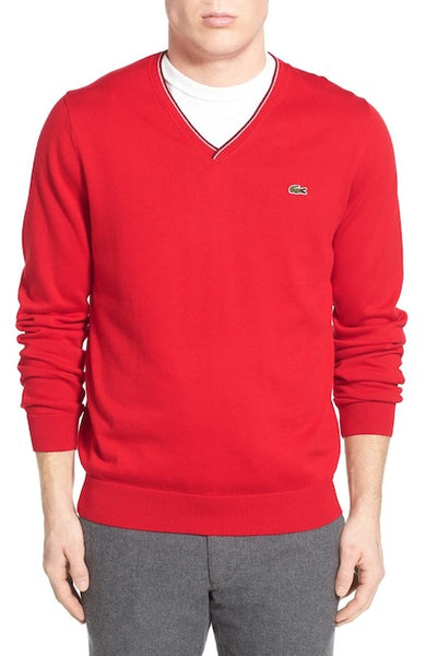 Lacoste Men's V Neck Sweater, Red/Pinot-Silver Chine