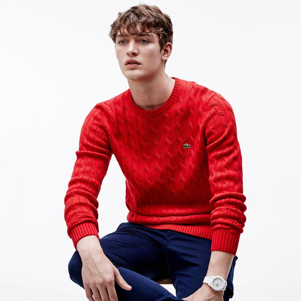 Lacoste Men's Crew Neck Ribbed Sweater, Red