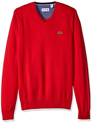 Lacoste Men's Classic Long Sleeve Cotton Jersey V Neck Sweater, Red/Navy Blue/White