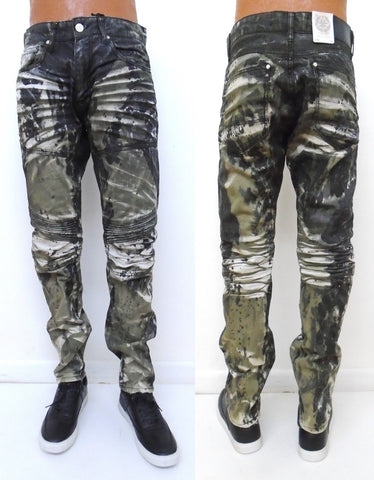 Jordan Craig Army Modern Moto Slim Fit Denim Jeans, Green Bleach