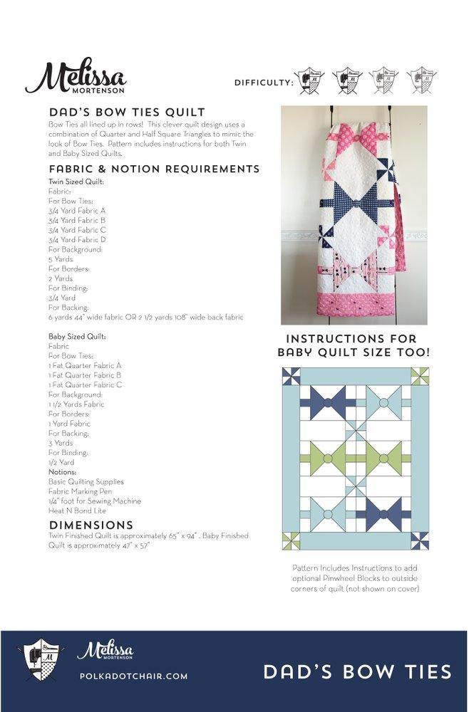 Dad's Bow Ties Quilt Pattern | Digital PDF Pattern