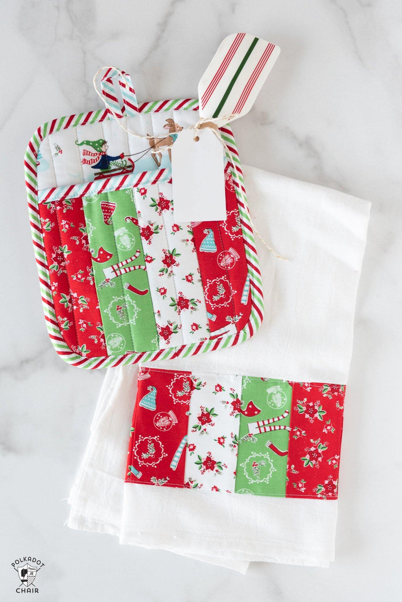 Quilted Potholder Parade Sewing Pattern with Holiday Version | Digital PDF
