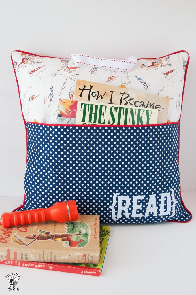 Reading Pocket Book Pillow | PRINTED Sewing Pattern - Polka Dot Chair Patterns by Melissa Mortenson