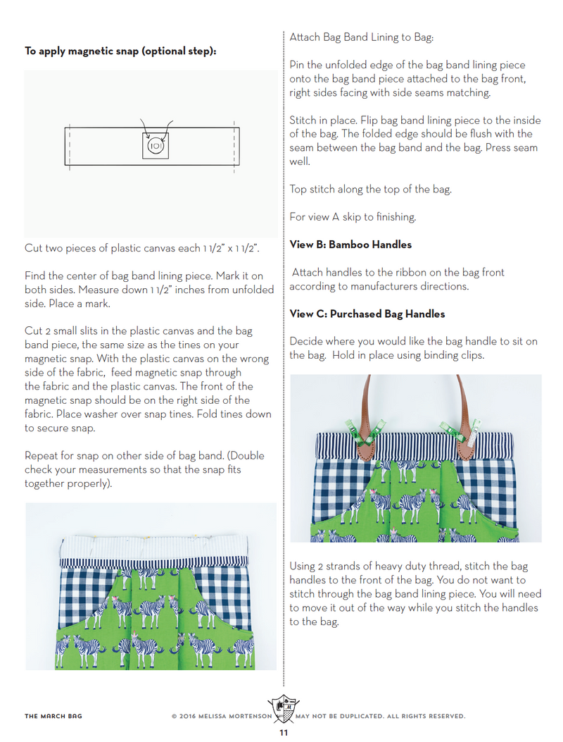 March Bag Sewing Pattern | Digital PDF Pattern