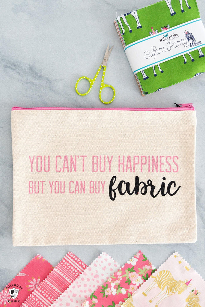 You can't buy Happiness Canvas Zippered Pouch
