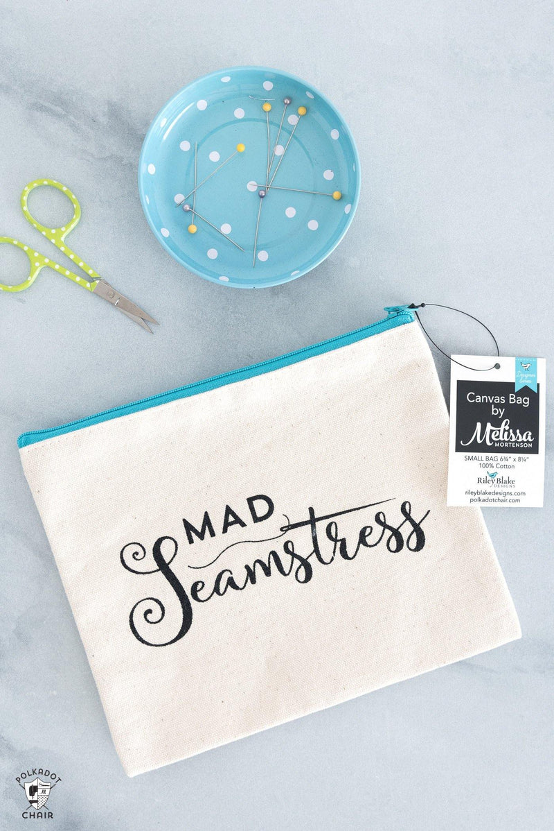 Mad Seamstress Canvas Zip Pouch