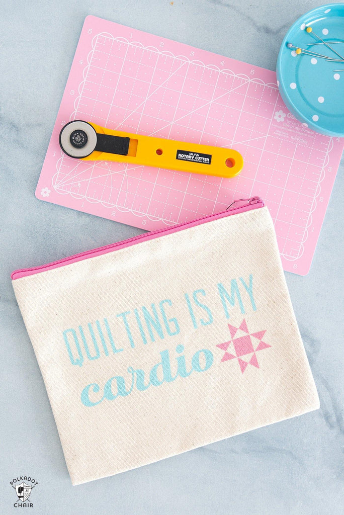 Quilting is my Cardio Canvas Zippered Pouch - Polka Dot Chair Patterns by Melissa Mortenson