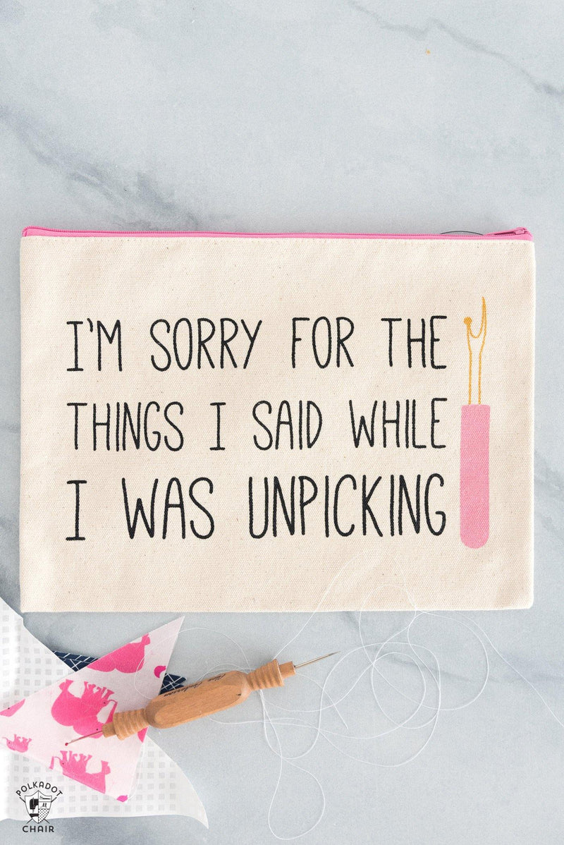 I'm Sorry For the Things I Said...Canvas Zippered Pouch