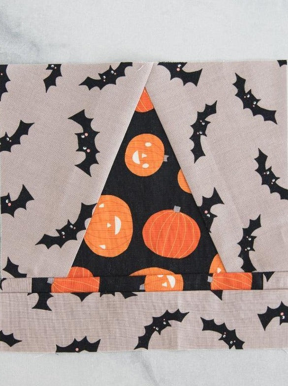 Witch Hat Halloween Quilt Block Foundation Paper Piecing Pattern for Quilt | Digital PDF