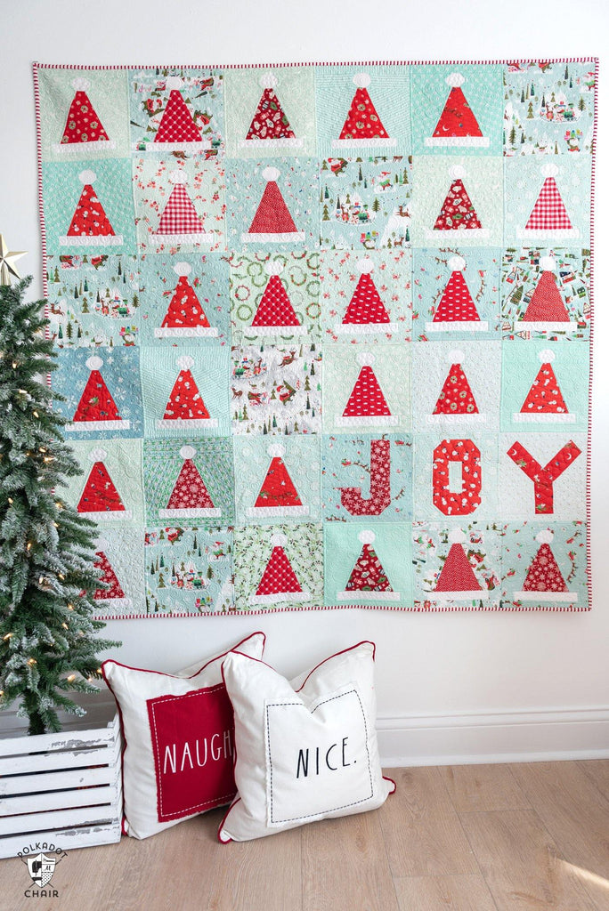 Santa's Hat Shop Christmas Quilt & Party Hat Quilt Pattern | Digital PDF Pattern