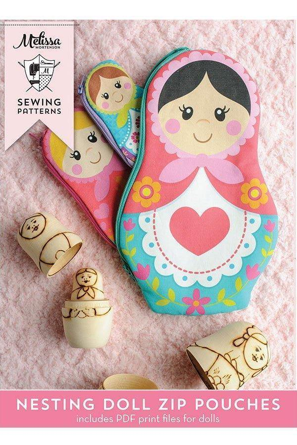 photograph about Printable Sewing Pattern identify Nesting Dolls Zip Luggage Printable Electronic PDF Sewing Practice