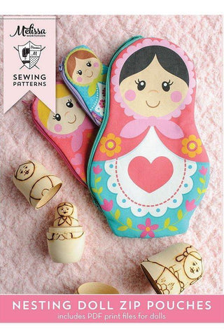 Nesting Dolls Zip Bags PDF Sewing Pattern and Printable Pattern Pieces