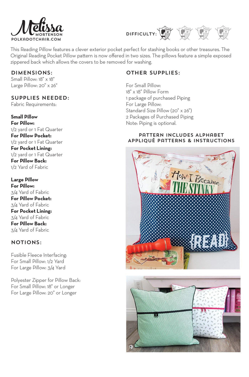 Reading Pillow / Pocket Book Pillow Pattern Bundle in Two Sizes | Digital PDF Pattern