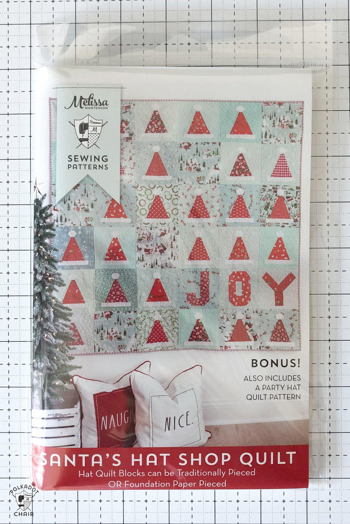 Santa's Hat Shop Christmas Quilt | PRINTED Quilt Pattern - Polka Dot Chair Patterns by Melissa Mortenson