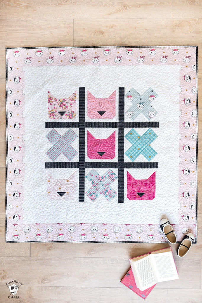 Tic Tac Cat | Digital PDF Quilt Pattern with Holiday Version - Polka Dot Chair Patterns by Melissa Mortenson