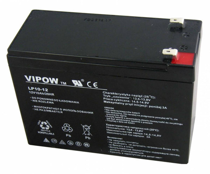 VIPOW AGM 12V, 10Ah Maintenance Free Battery
