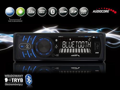 Hands-free car radio, bluetooth, USB, SD, app for Android and iPhone
