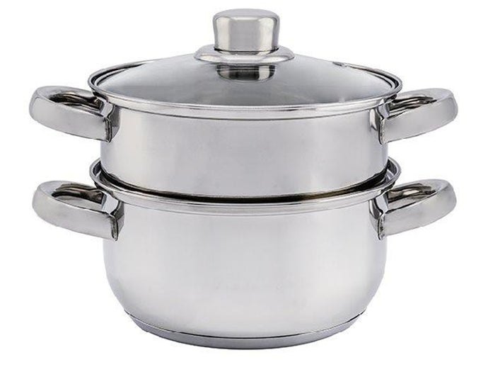 2 tier stainless steel steam cooker steamer set with glass lid