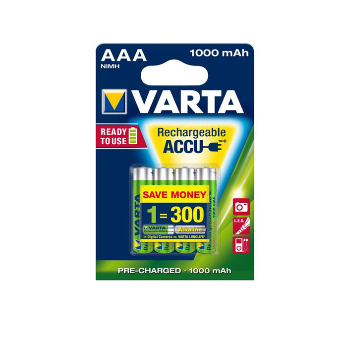 4 in blister Ready2Use Rechargeable batteries Varta  AAA 1000 mAh Ni-MH