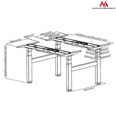 MACLEAN BRACKETS MC-794 Double Electric Adjustable Desk