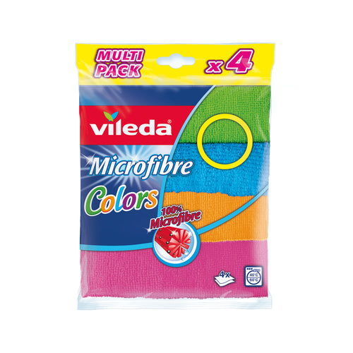 Microfibre Cloths Vileda Colors 4 Microactive Multipack