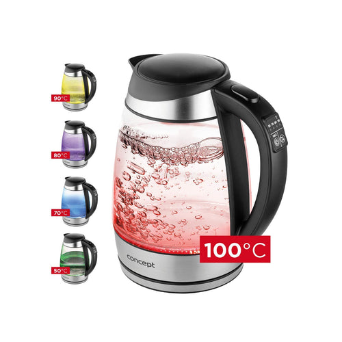 1.7L glass electric kettle with temperature control Concept RK4120
