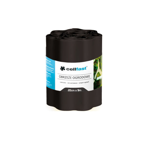 20cm x 9m wavy garden edge Cellfast black