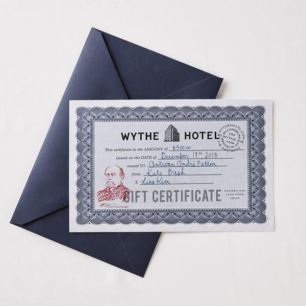WYTHE HOTEL GIFT CERTIFICATE