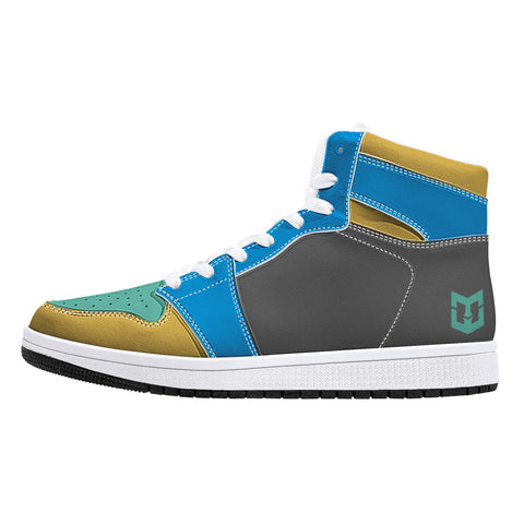 Retro High-Top Leather Sneakers - Blue Green Gold, MWG