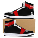 Warrior Life High-Top Leather Sneakers - Black & Red