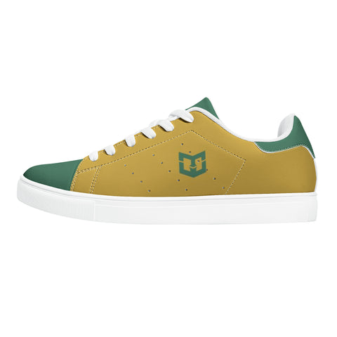 Retro Green and Yellow Low-Top Leather Skate Shoes