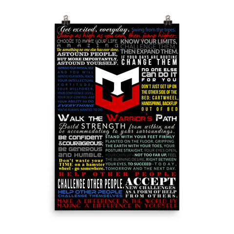 Walk the Warrior's Path Poster 24x36 - Warrior Life, Ninja Warrior & Parkour Gear