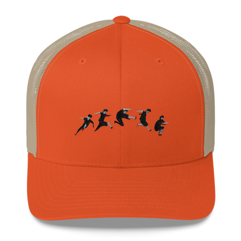Parkour Precision Rustic Orange Embroidered Trucker Cap - Warrior Life, Ninja Warrior & Parkour Gear
