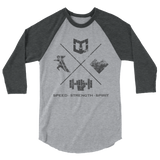 Speed, Strength, Spirit - Warrior Life 3/4 sleeve raglan shirt - Warrior Life, Ninja Warrior & Parkour Gear