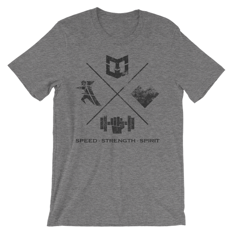 Speed Strength Spirit - Unisex short sleeve t-shirt - Warrior Life, Ninja Warrior & Parkour Gear