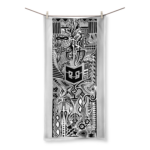 Tribal Warrior Beach Towel, Black and White - Warrior Life, Ninja Warrior & Parkour Gear