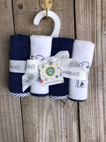 Navy Dog 4 Piece Washcloth Set
