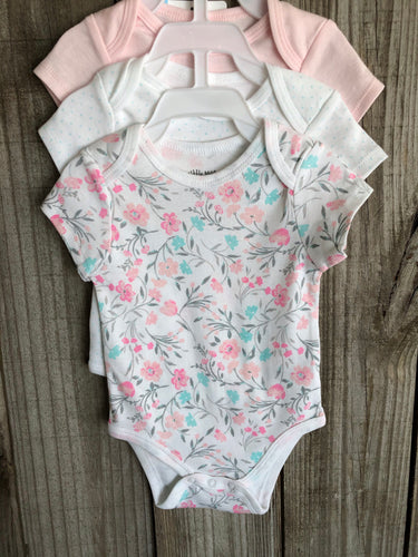 Pink Multi Floral 3 Piece Onesie Set