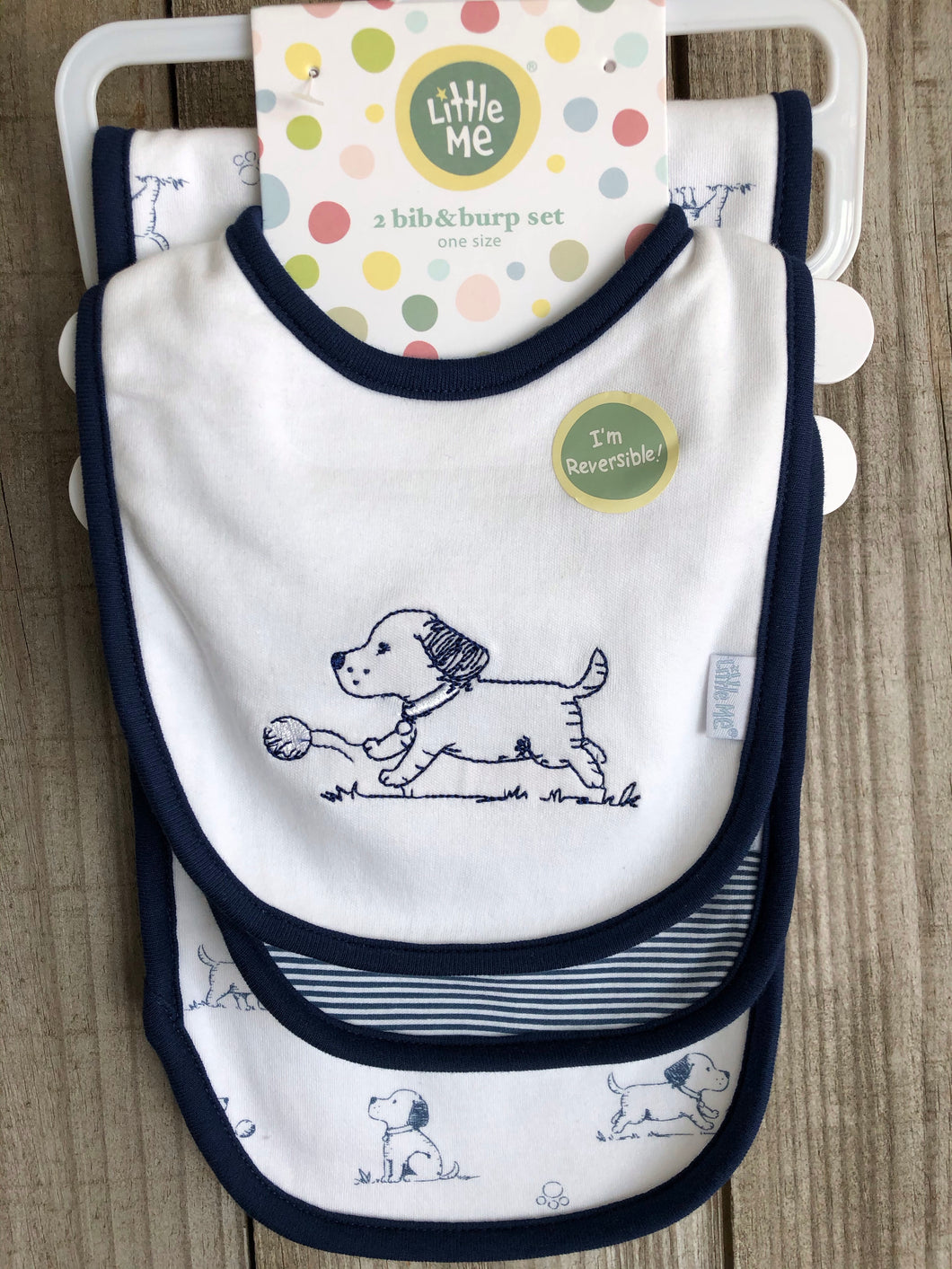 Navy Dog 2 Bib and Burp Set