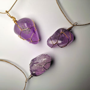 Amethyst Tumbled Crystal Necklace Wrap! (Grade AA)