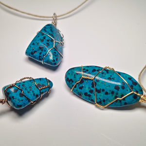 Blue Dalmatian Jasper Necklace Wrap! (Grade AA)