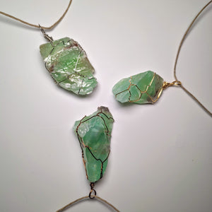 Green Calcite Crystal Necklace Wrap!