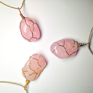 Rose Quartz Tumbled Necklace Wrap! (Grade AA)