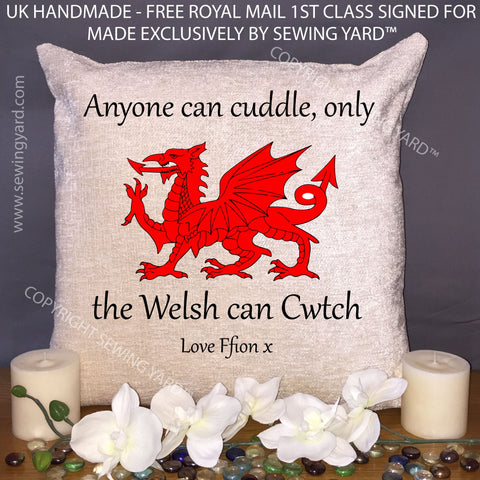 Luxury Personalised 18 Chenille Cushion Pad Cwtch Valentines Day Sewing Yard