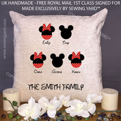 "Luxury Personalised 18"" Chenille Cushion & Pad Disney Family Tree Valentines Day Birthday Present, Gift for Girlfriend Or Family"