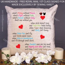 "Luxury Personalised 18"" Chenille Cushion & Pad Disney Poem Mothers Day Present"
