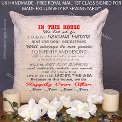 "Luxury Personalised 18"" Chenille Cushion & Pad Disney Quotes Mothers Day, Birthday, Christmas Gift for Girlfriend /Boyfriend"