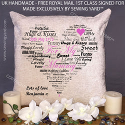 Luxury Personalised Cream Chenille Cushion & Pad, For My Mummy, Made In The UK